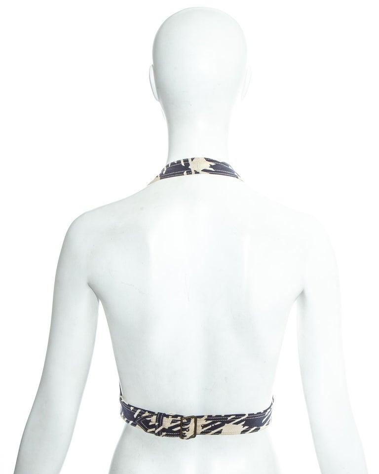 Azzedine Alaia navy blue houndstooth 'Tati' corset, ss 1991 For Sale 3