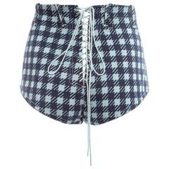 Azzedine Alaia navy blue houndstooth 'Tati' mini shorts, ss 1991