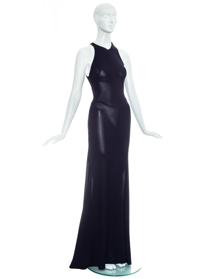 Women's Azzedine Alaia navy blue knitted figure hugging maxi dress, fw 2001  For Sale