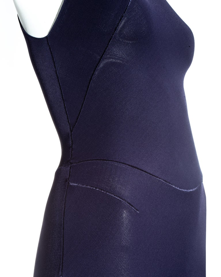 Azzedine Alaia navy blue knitted figure hugging maxi dress, fw 2001  For Sale 2