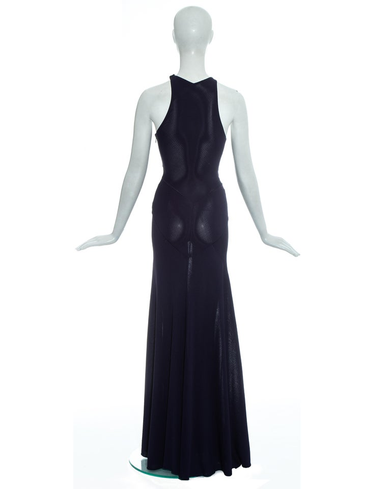 Azzedine Alaia navy blue knitted figure hugging maxi dress, fw 2001  For Sale 3