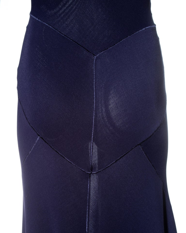 Azzedine Alaia navy blue knitted figure hugging maxi dress, fw 2001  For Sale 5