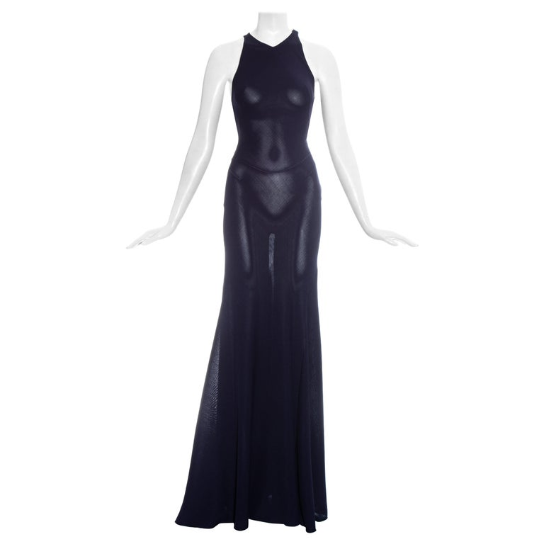 Azzedine Alaia navy blue knitted figure hugging maxi dress, fw 2001  For Sale
