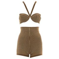 Azzedine Alaia olive cotton spandex bra and mini shorts ensemble, ss 1990