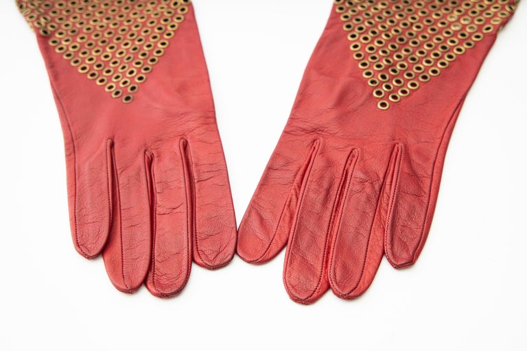 Red Azzedine Alaia Oxblood Leather Bronze Appliquéd Grommets Gloves, Circa: 1980's For Sale