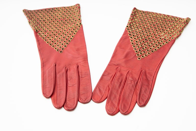 Azzedine Alaia Oxblood Leather Bronze Appliquéd Grommets Gloves, Circa: 1980's In Good Condition For Sale In Cincinnati, OH