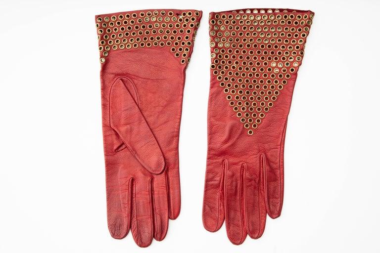 Women's Azzedine Alaia Oxblood Leather Bronze Appliquéd Grommets Gloves, Circa: 1980's For Sale
