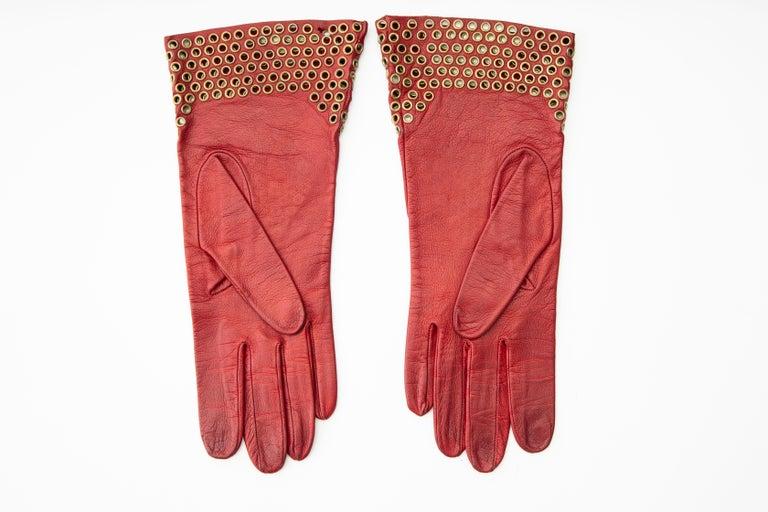 Azzedine Alaia Oxblood Leather Bronze Appliquéd Grommets Gloves, Circa: 1980's For Sale 1