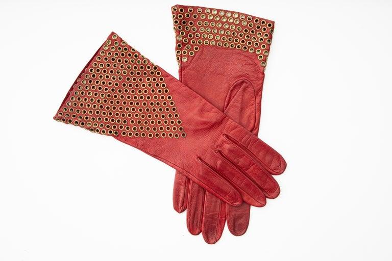 Azzedine Alaia Oxblood Leather Bronze Appliquéd Grommets Gloves, Circa: 1980's For Sale 2