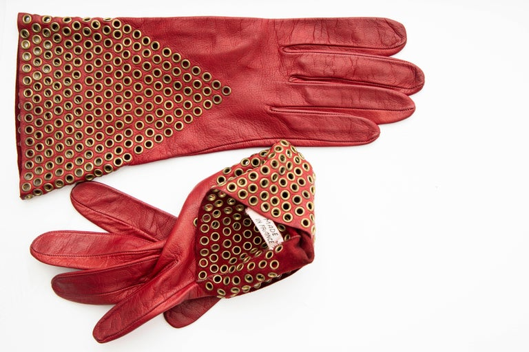 Azzedine Alaia Oxblood Leather Bronze Appliquéd Grommets Gloves, Circa: 1980's For Sale 3