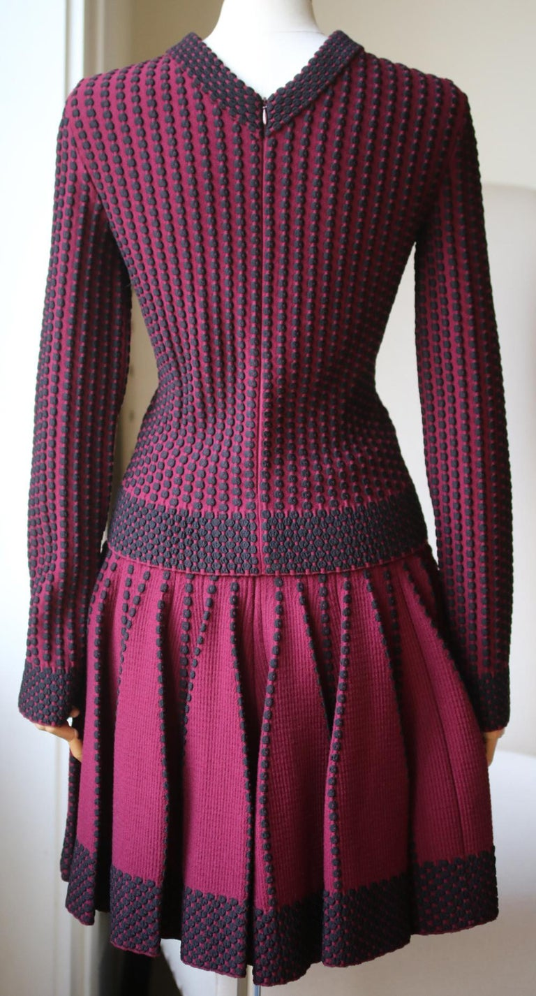 Black Azzedine Alaïa Pois Luxe Wool-Blend Top and Skirt  For Sale