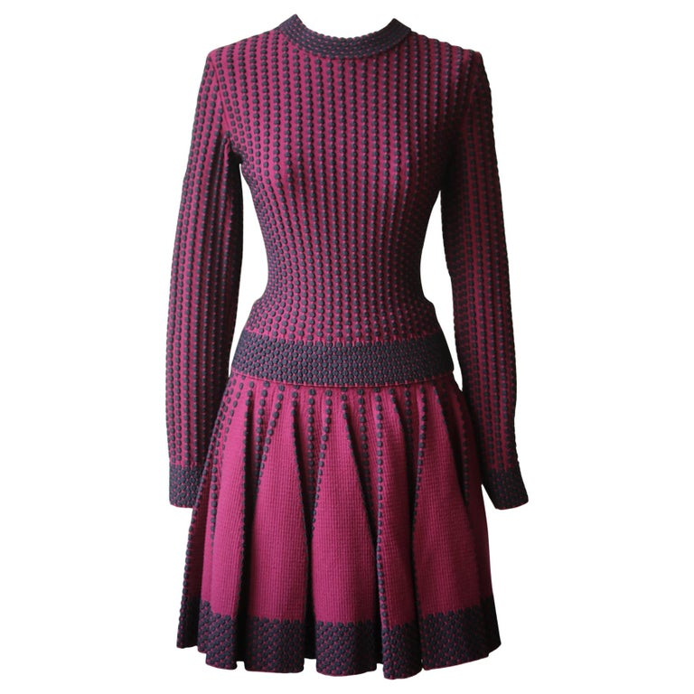 Azzedine Alaïa Pois Luxe Wool-Blend Top and Skirt  For Sale