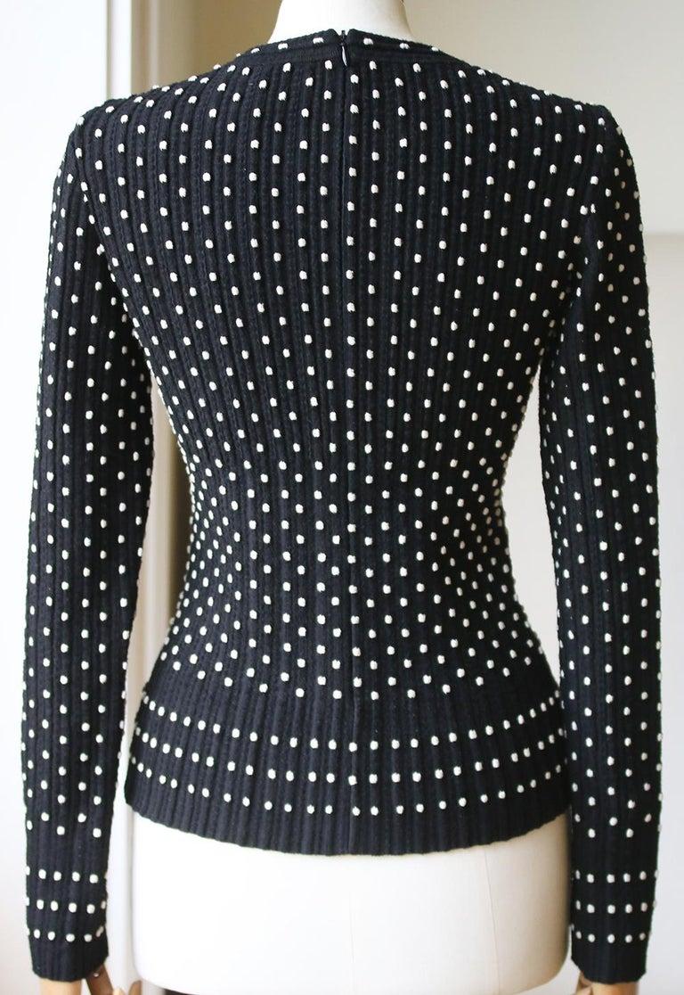 Black Azzedine Alaïa Pois Luxe Wool-Blend Top For Sale