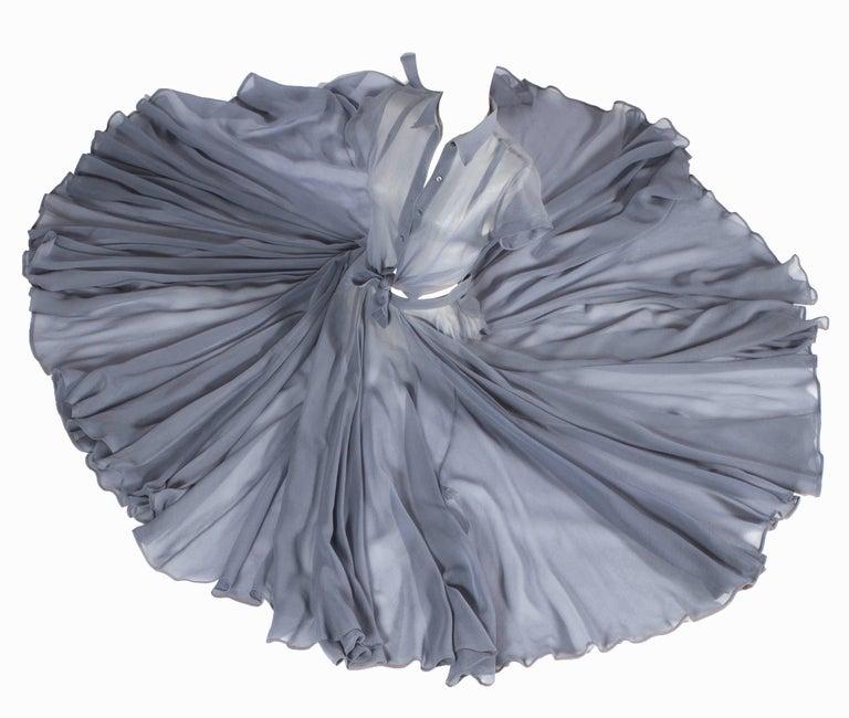 Azzedine Alaia powder blue organza circle skirt and blouse ensemble  Spring-Summer 1990