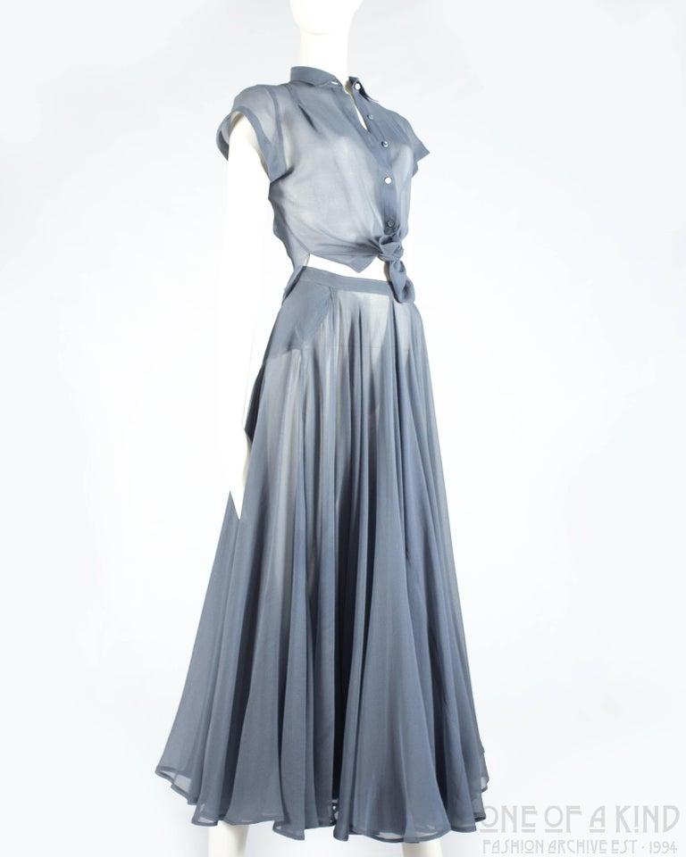 Gray Azzedine Alaia powder blue organza circle skirt and blouse ensemble, ss 1990 For Sale