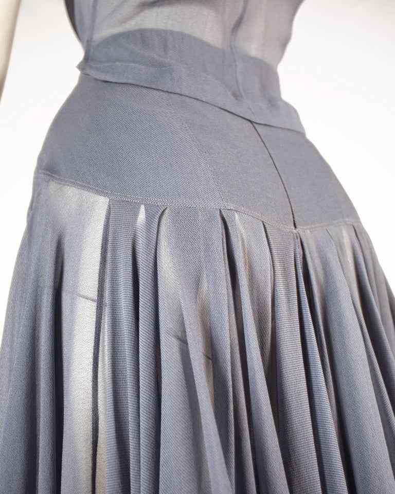 Women's Azzedine Alaia powder blue organza circle skirt and blouse ensemble, ss 1990 For Sale