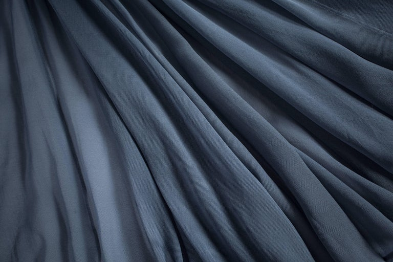 Azzedine Alaia powder blue organza circle skirt and blouse ensemble, ss 1990 For Sale 1
