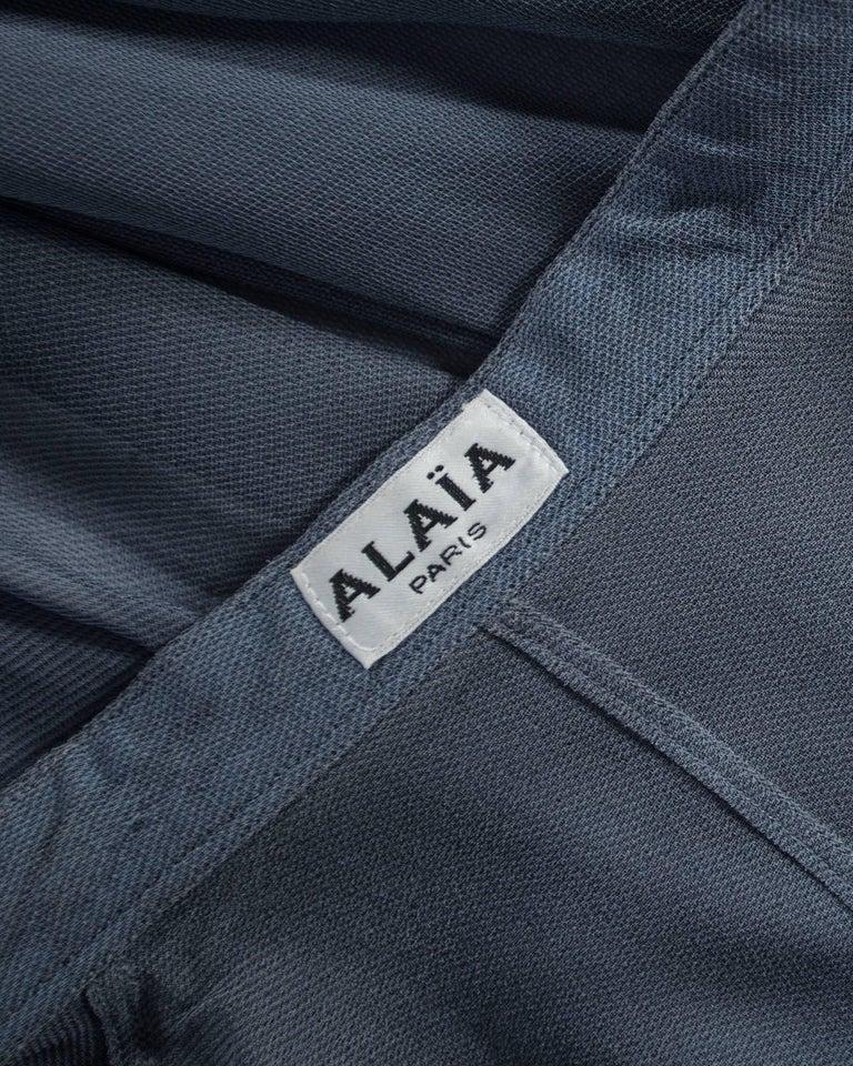 Azzedine Alaia powder blue organza circle skirt and blouse ensemble, ss 1990 For Sale 2