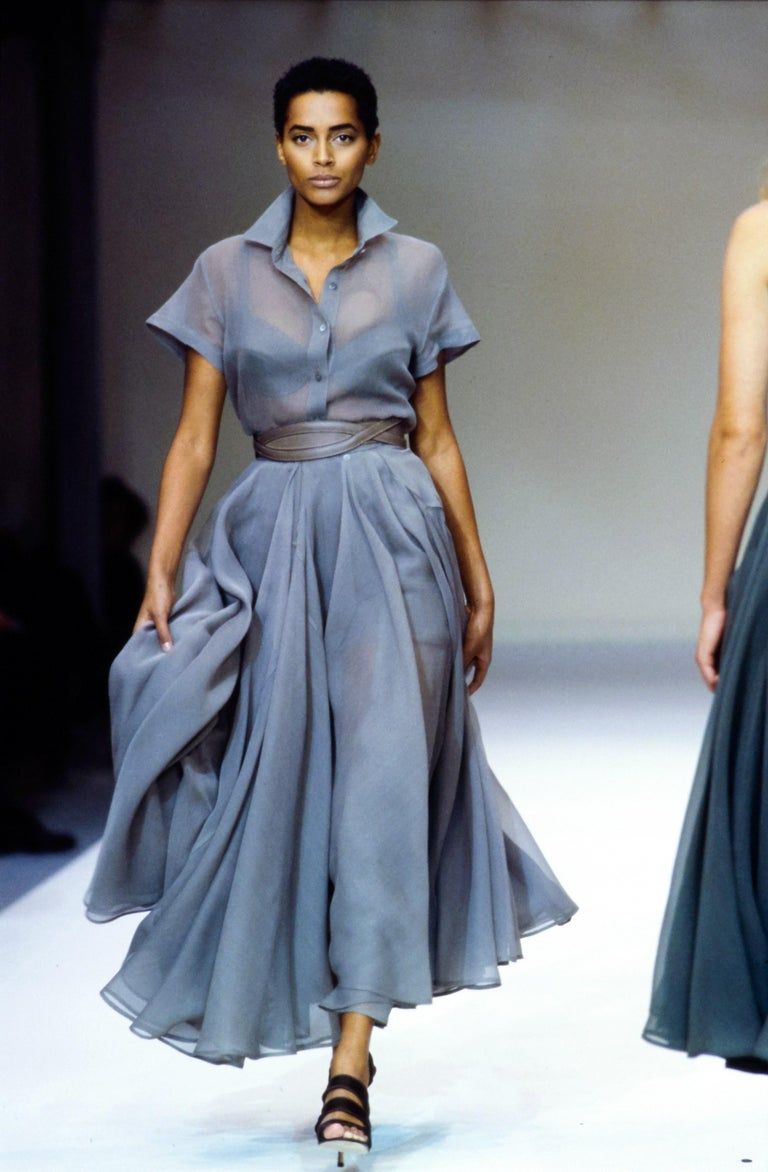 Azzedine Alaia; Powder blue organza summer ensemble; features a full pleated circle skirt and button up blouse     Spring-Summer 1990
