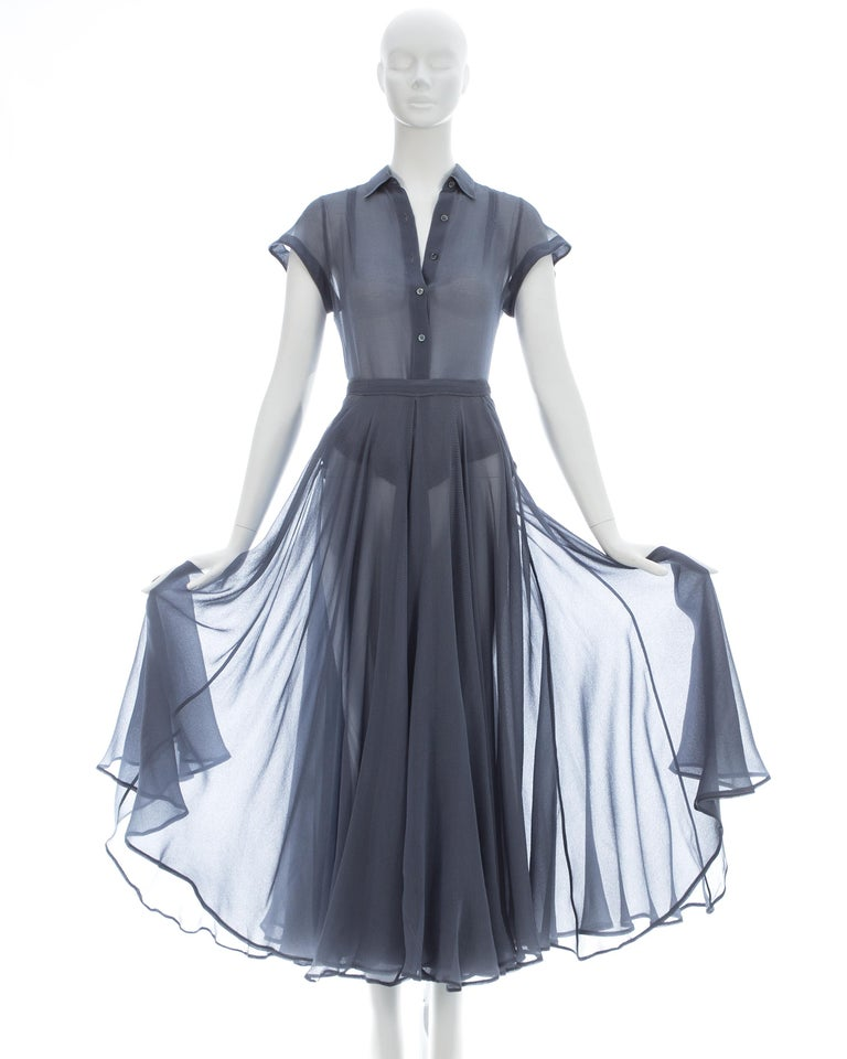 Azzedine Alaia powder blue organza skirt and blouse ensemble, ss 1990 In Excellent Condition For Sale In London, GB