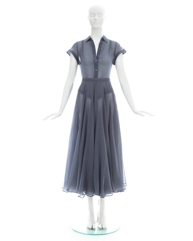 Women's Azzedine Alaia powder blue organza skirt and blouse ensemble, ss 1990 For Sale
