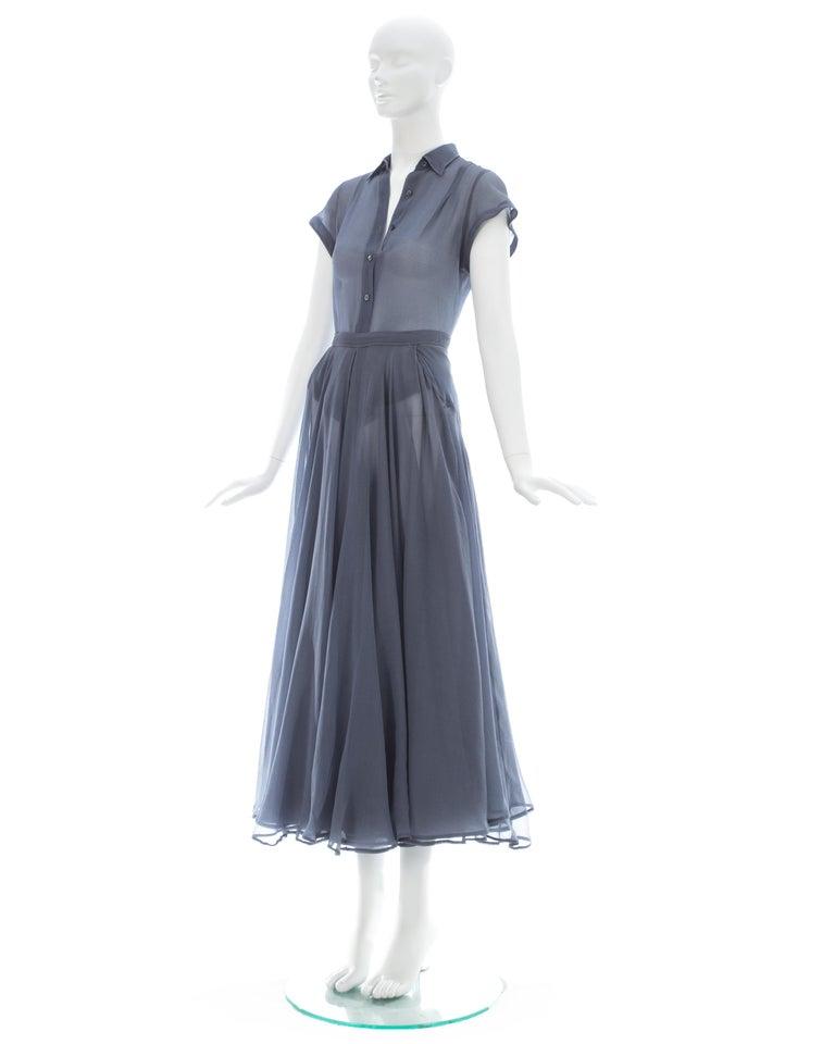 Azzedine Alaia powder blue organza skirt and blouse ensemble, ss 1990 For Sale 2