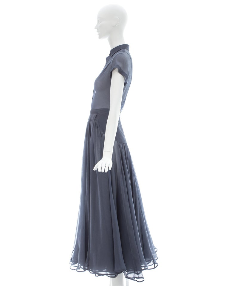 Azzedine Alaia powder blue organza skirt and blouse ensemble, ss 1990 For Sale 3