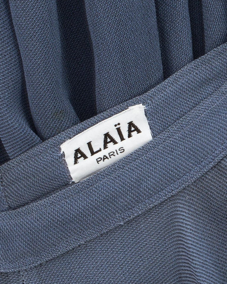 Azzedine Alaia powder blue organza skirt and blouse ensemble, ss 1990 For Sale 5