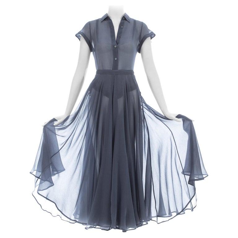 Azzedine Alaia powder blue organza skirt and blouse ensemble, ss 1990 For Sale