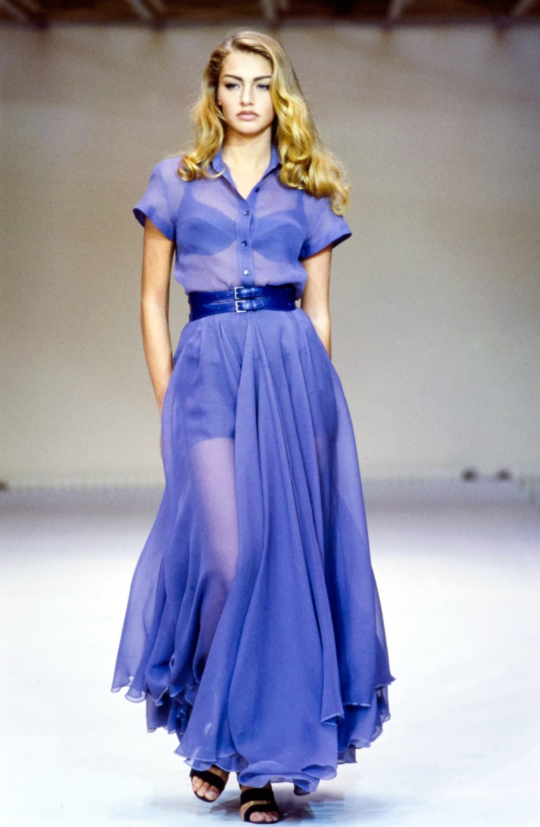 Women's Azzedine Alaia powder blue organza skirt and blouse set, ca. 1990 For Sale