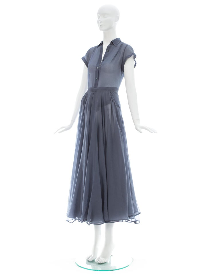Azzedine Alaia powder blue organza skirt and blouse set, ca. 1990 For Sale 1