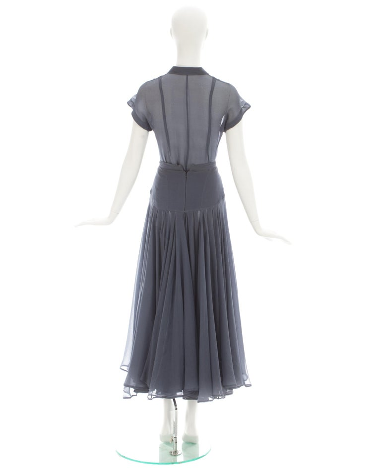Azzedine Alaia powder blue organza skirt and blouse set, ca. 1990 For Sale 3