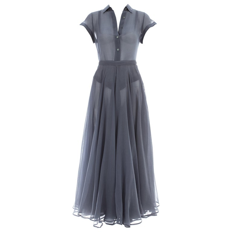Azzedine Alaia powder blue organza skirt and blouse set, ca. 1990 For Sale