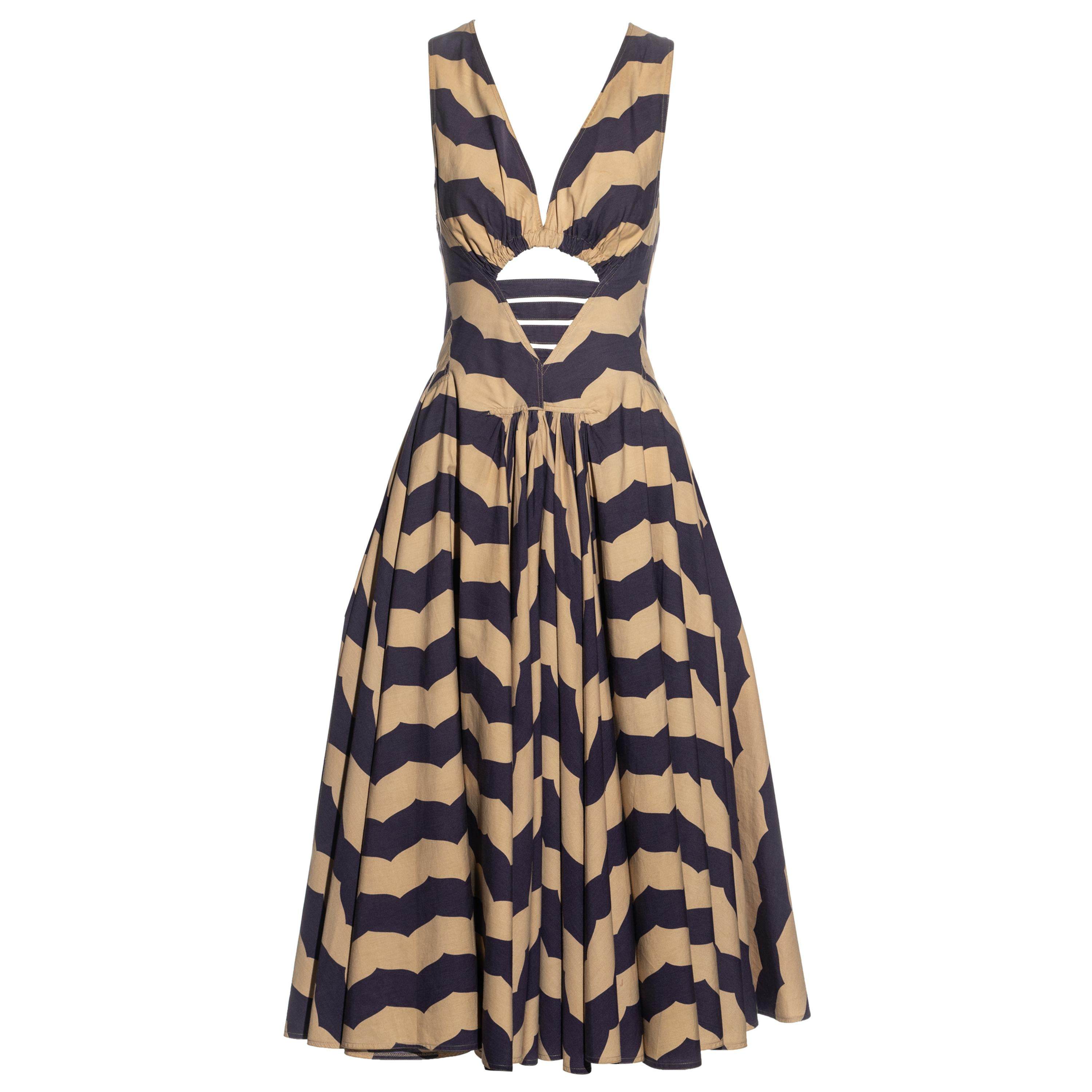 Azzedine Alaia purple and beige striped cotton dress with cut out, ss 1990
