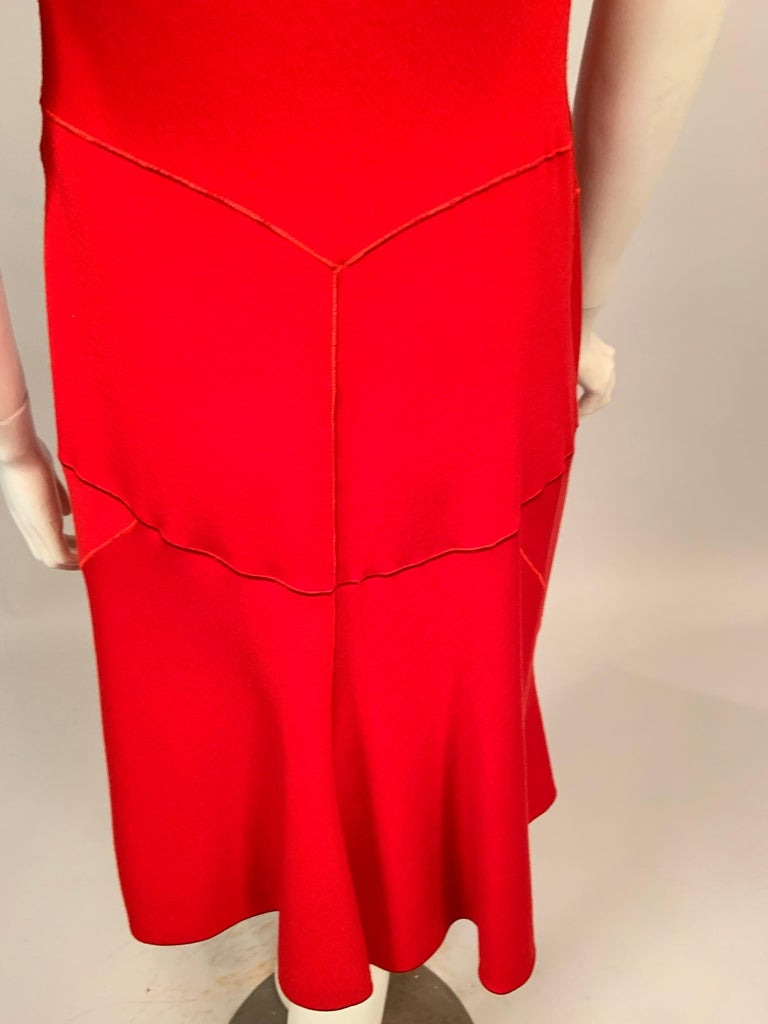Azzedine Alaia Red Wool Sleeveless Cocktail Dress For Sale 6