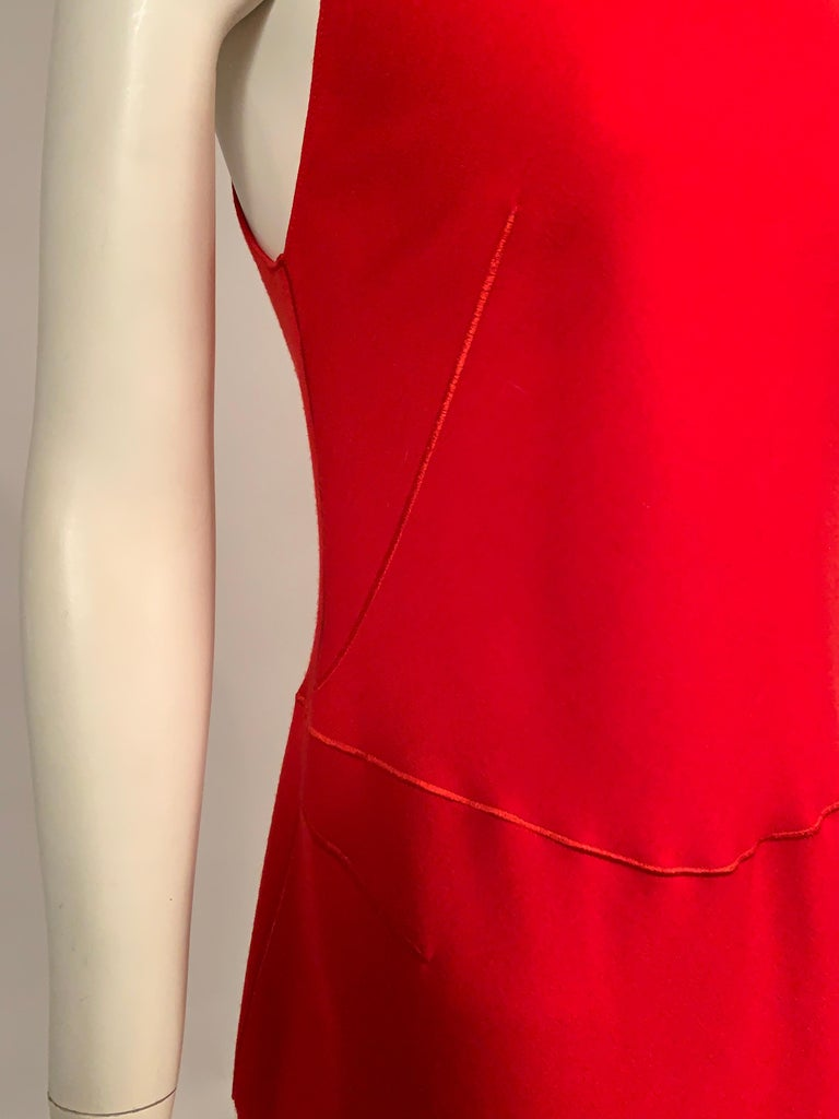 Azzedine Alaia Red Wool Sleeveless Cocktail Dress For Sale 1