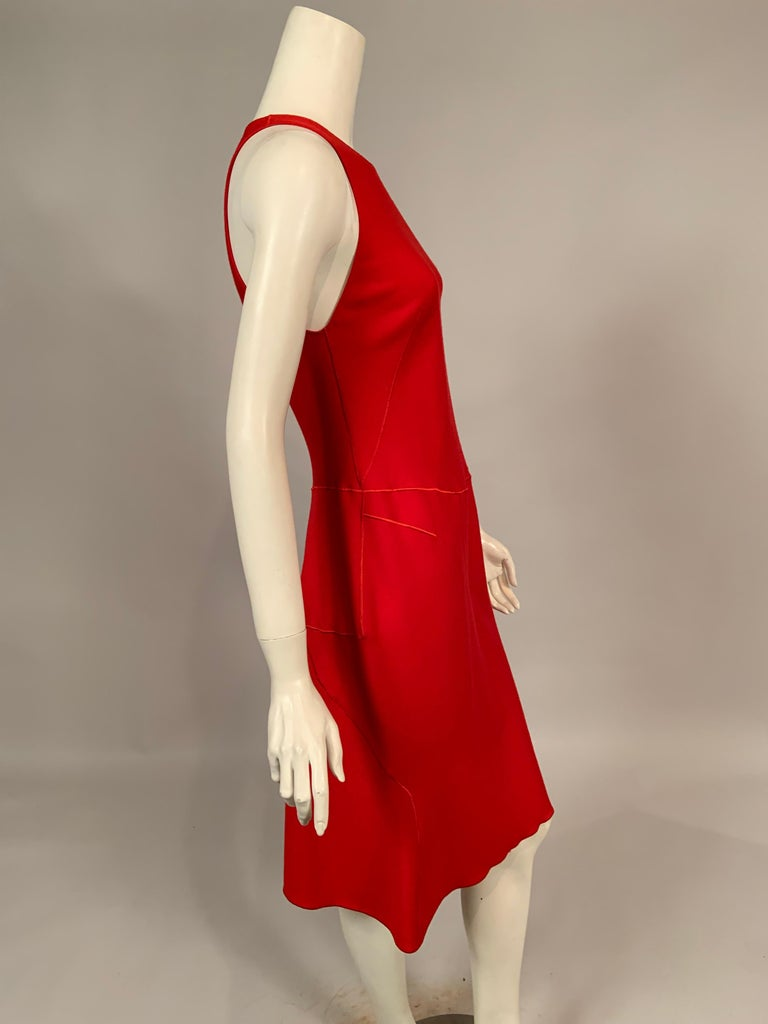 Azzedine Alaia Red Wool Sleeveless Cocktail Dress For Sale 2