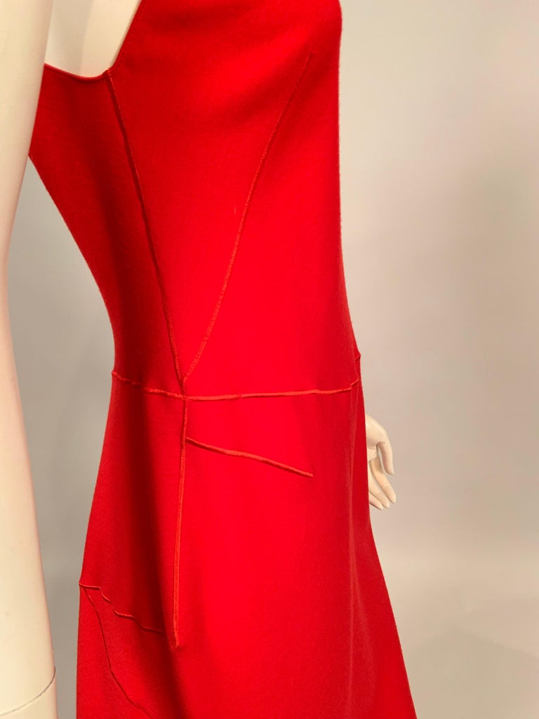 Azzedine Alaia Red Wool Sleeveless Cocktail Dress For Sale 3