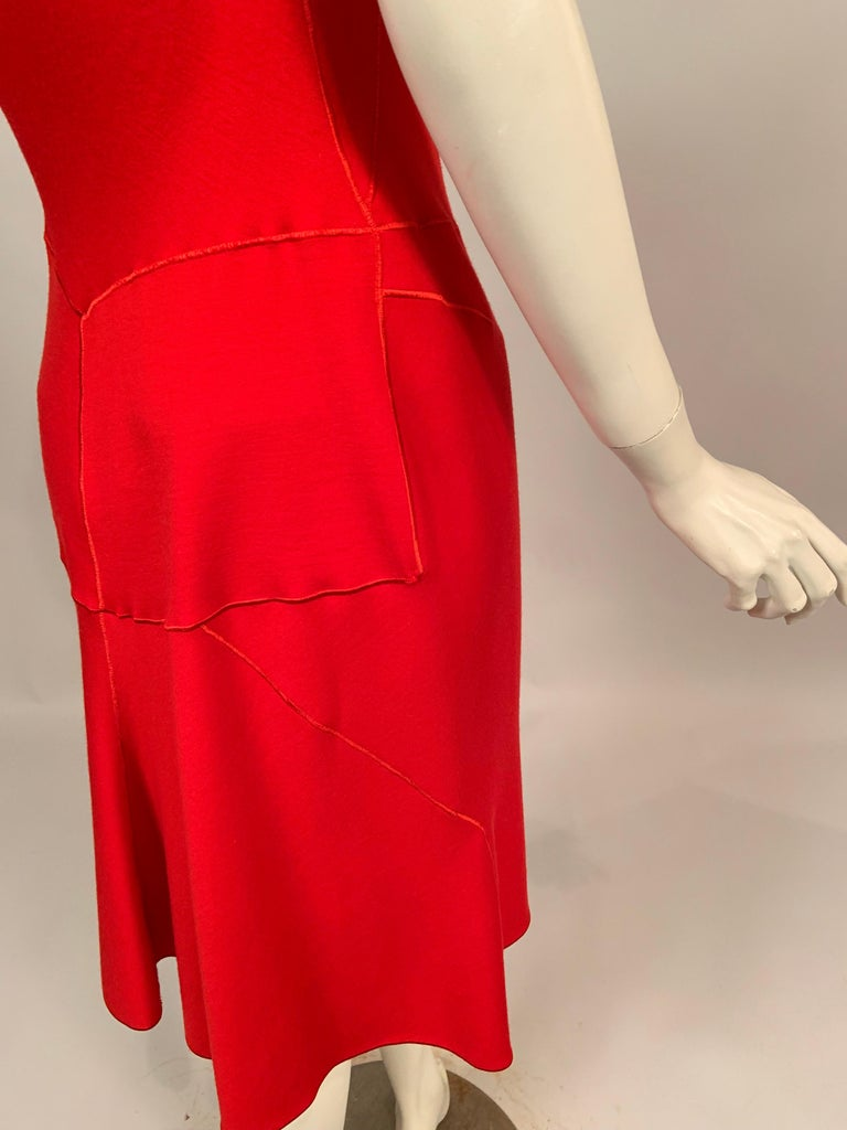 Azzedine Alaia Red Wool Sleeveless Cocktail Dress For Sale 4