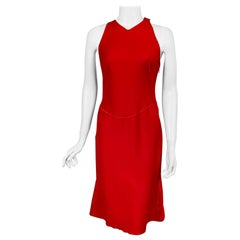 Azzedine Alaia Red Wool Sleeveless Cocktail Dress