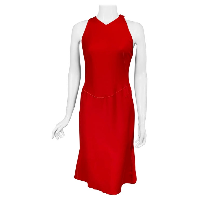 Azzedine Alaia Red Wool Sleeveless Cocktail Dress For Sale