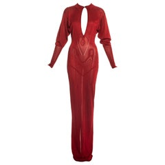 Azzedine Alaia ruby red acetate knit evening maxi dress, fw 1986