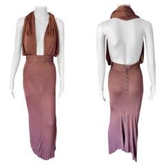 Azzedine Alaïa S/S 1986 Vintage Halter Backless Fishtail Brown Gown Maxi Dress