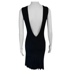 Azzedine Alaia S/S 1990 Runway Vintage Fitted Open Back Black Dress