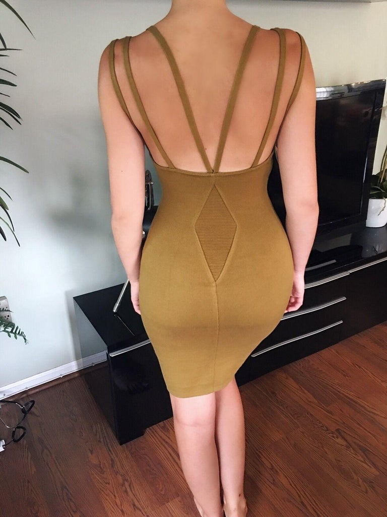 Brown Azzedine Alaia S/S 1990 Vintage Fitted Bodycon Dress For Sale