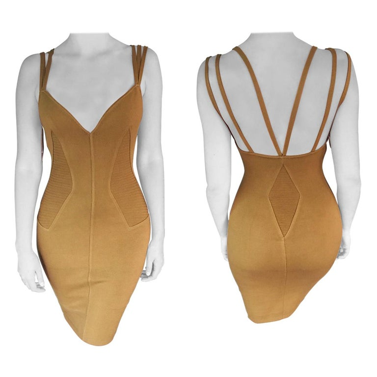 Azzedine Alaia S/S 1990 Vintage Fitted Bodycon Dress For Sale