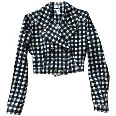 Azzedine Alaia S/S 1991 Iconic Tati Checkered Black and White Crop Jacket