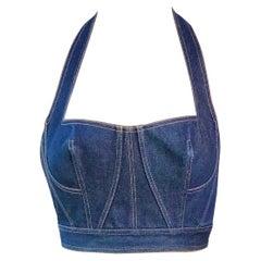 Azzedine Alaia S/S 1991 Runway Vintage Blue Denim Backless Bra Bralette Crop Top