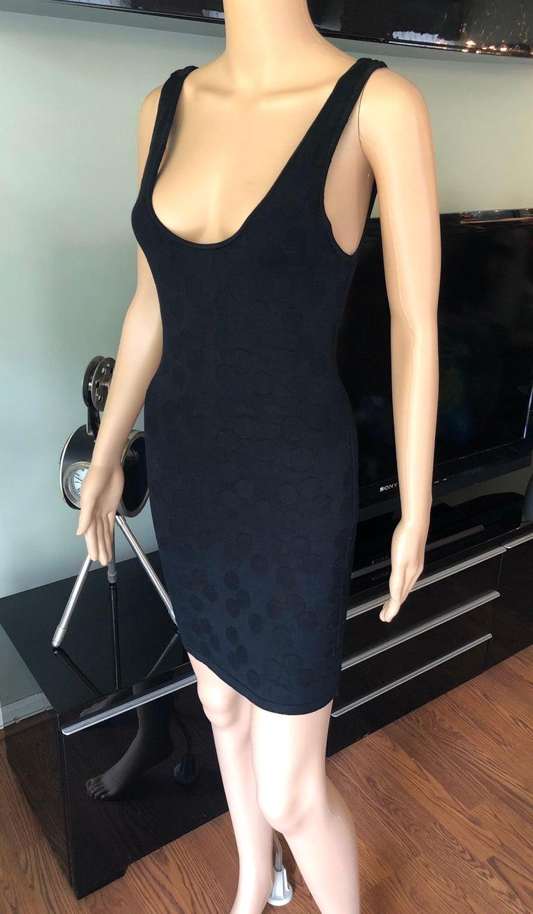Azzedine Alaia S/S 1991 Vintage Bodycon Open Back Polka Dot Black Mini Dress In Good Condition For Sale In Totowa, NJ