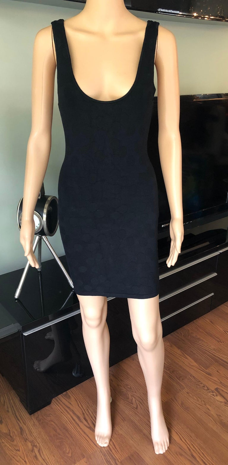Azzedine Alaia S/S 1991 Vintage Bodycon Open Back Polka Dot Black Mini Dress For Sale 1
